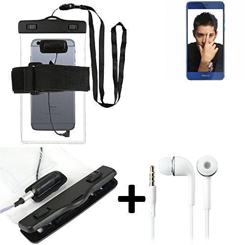 Estuche estanco al agua con entrada de auriculares para Huawei Honor 8 + auricular incluido, transparente   Trotar bolsa de playa al aire libre caja brazalete del teléfono caso de cáscara bajo playa -