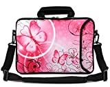 RICHEN 14 15 15.4 15.6 inch Laptop Shoulder Bag Messenger Bag Case Notebook Handle Sleeve Neoprene Soft Carring Tablet Travel Case with Accessories Pocket (Pink Butterfly)