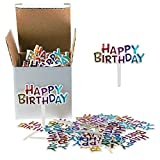 Colourful Mini Plastic Happy Birthday Cupcake Cake Toppers Picks for Party Dessert Table Decorations Supplies, 50 Counts by Shxstore