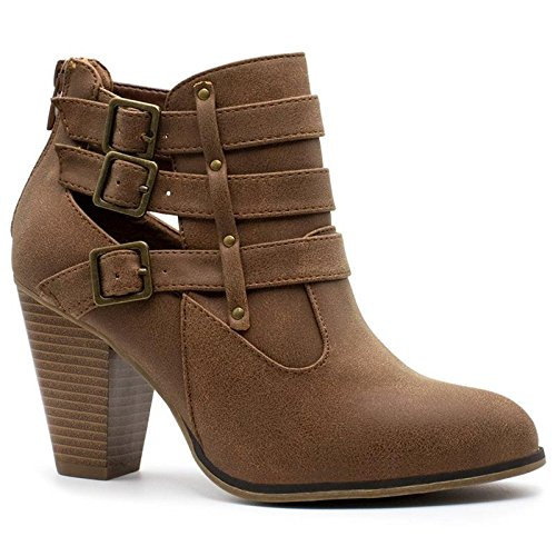 Forever Women's Buckle Strap Block Heel Ankle Booties Premier Tan