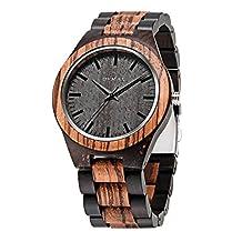 Men Wood Watches Quartz, Bymax Fashion Handmade Zebra Analog wooden Wrist Watches Black