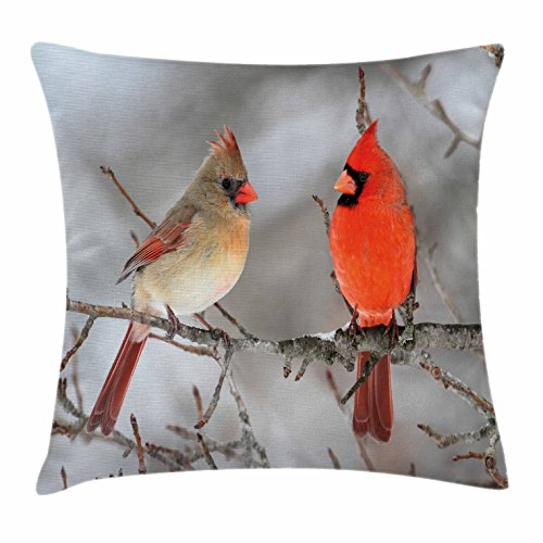 Lunarable Bird Throw Pillow Cushion Cover, Pair of Northern Cardinal Birds on a Tree Ornithology Avian Wildlife Fauna, Decorative Square Accent Pillow Case, 18 X 18 Inches, Vermilion Tan Beige