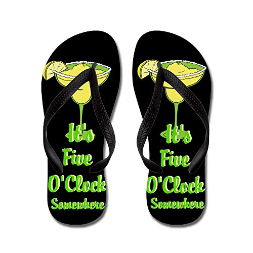 Cafepress Five Oclock Somewhere - Beach Bum - Infradito, Divertenti Sandali Infradito, Sandali Da Spiaggia Neri