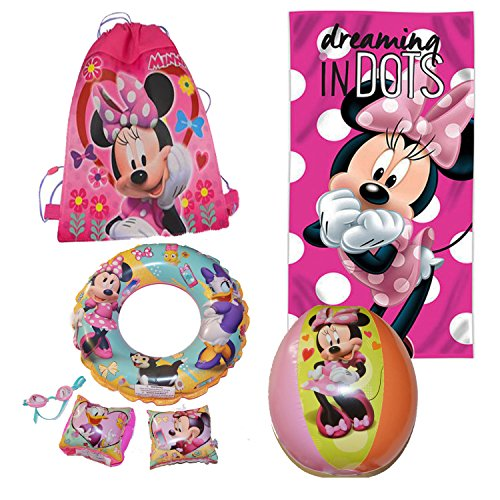Disney Minnie Mouse Sling Bag Bundled With Beach Towel, Goggles, Arm Floaties,Swimming Ring