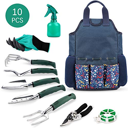 INNO STAGE Gardening Tools Set and Organizer Tote Bag with 10 Piece Garden Tools,Best Garden Gift Set,Vegetable…
