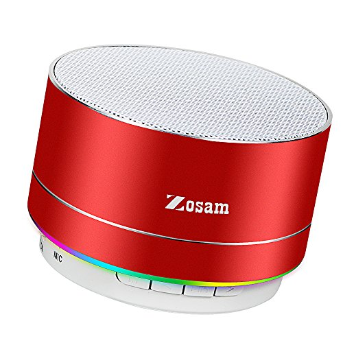 Zosam Mini Wireless Speaker, Portable Bluetooth Speaker with HD Sound, 4H Playing Time, Built-in Mic, SD/TF Card Slot, FM and LED Moodlights for Home, Travel (Red)