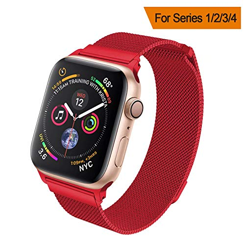 HILIMNY Compatible for Apple Watch Band 38mm 40mm 42mm 44mm, Stainless Steel Mesh Milanese Sport Wristband Loop with Adjustable Magnet Clasp for iWatch Series 1/2/3/4, Red