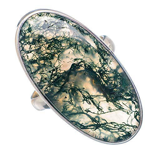 Large Green Moss Agate Ring Size 8.5 (925 Sterling Silver) - Handmade Boho Vintage Jewelry RING910120 ()