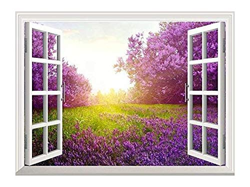 - Removable Wall Sticker/Wall Mural - Majestic Purple Lavender and Trees Out of The Open Window Creative Wall Decor - 24