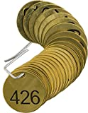 Brady 236241 1/2'' Diameter Stamped Brass Valve Tags, Numbers 426-450, Legend''(Blank)'' (25 per Package)