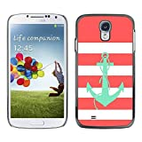 LASTONE PHONE CASE / Slim Protector Hard Shell Cover Case for Samsung Galaxy S4 I9500 / Anchor Teal Pink White Lines Sailor Boat