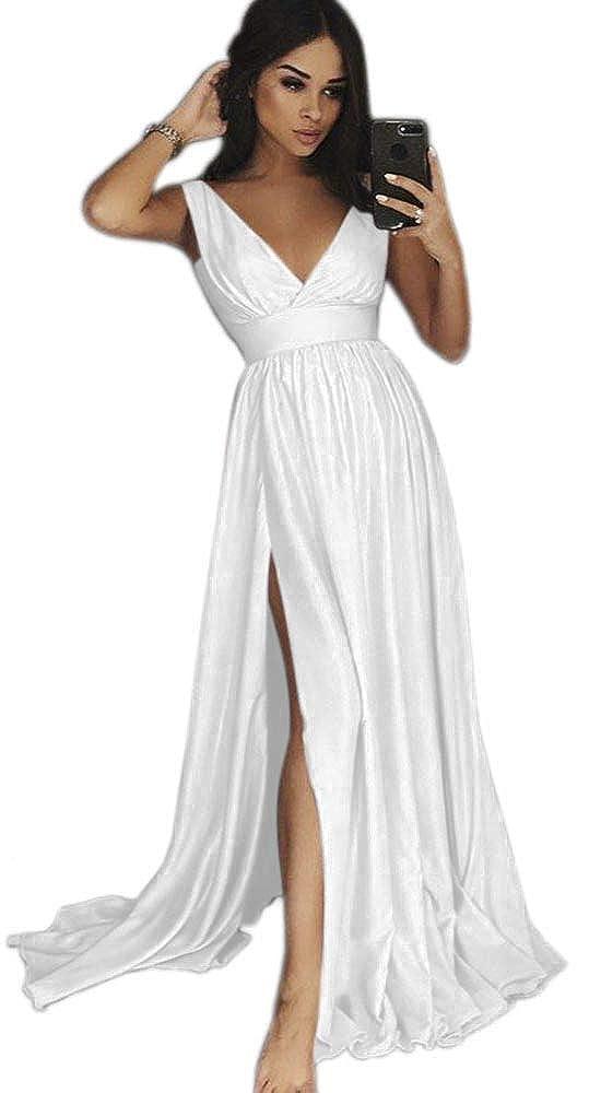 White Dressylady Women's V Neck EmpireWaist A Line Long Prom Evening Dress with Slit
