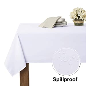 RYB HOME Spillproof Outdoor Table Cloth for Patio Garden Tabletop Decor, Use Table Cover for Restaurant/Banquet/Buffets/Cafe/Home Bar/Dining, 60 x 120 inches, White