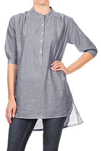 Vertical Shirt Woven Stripe (Anna-Kaci Women's Casual Woven Chambray Vertical Stripes Button Up Half Sleeves High Low Hem Shirt,Denim, Medium)