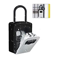 Suliper Key Lock Box with Shackle,4-Digit Combination Portable Safe Lockbox with Resettable Code,Wall Mounted 5 Key…