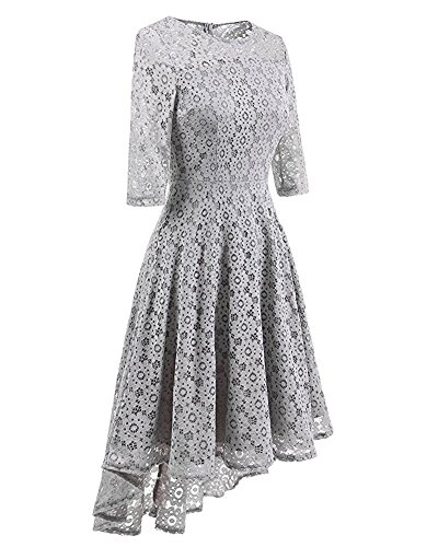 BeneGreat A Dress Floral Line Sleeve Lace Gray Cocktail Women's Swing Party Vintage Half rOxqAr16