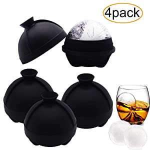 4 Pack Ice Ball Molds - Silicone Sphere Ice Molds with Built-in Funnel-Makes 2.5 Inch Large Ice Cube Tray for Whiskey & Cocktails Food Grade and BPA Free