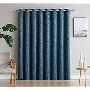 """LinenZone Evelyn - 1 Patio Extra Wide Curtain Panel with 16 Grommets - Embossed Thermal Weaved Blackout - Noise Reduction Fabric - Ideal for Sliding and Patio Doors (Patio 102"""" W x 84"""" L, Teal)"""