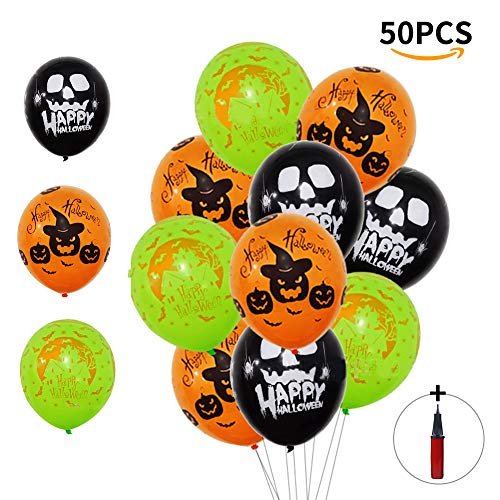 OSOPOLA Halloween Balloons Decorations - Latex Skeleton Pumpkin Ghost Balloons with an Air Pump - Blood Handprint Horror Balloons for Halloween Party Supplies 50Pcs 12 Inches (Black Orange Green)