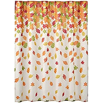 Autumn Harvest Falling Leaves Fabric Bathroom Shower Curtain