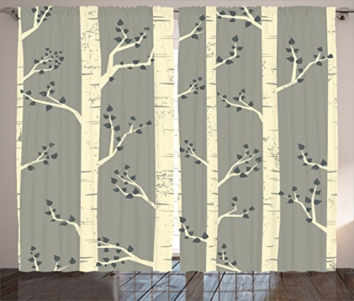 Ambesonne Grey Curtains by, Birch Tree Branches Vintage Bohemian Contemporary Illustration of Nature, Living Room Bedroom Window Drapes 2 Panel Set, 108 W X 84 L Inches, Warm Taupe Pale Yellow