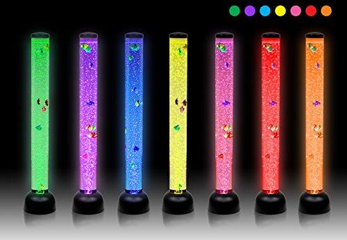 LARGE - Seethe Tube Floor Novelty lamp with Fish & LED lights - 105cm - BLACK OR WHITE - NEW MODEL (Black)