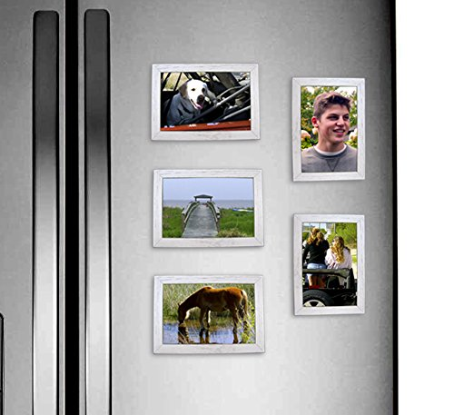 amazoncom fridgepic wood magnetic photo picture frames black set of 5 4x6 home kitchen