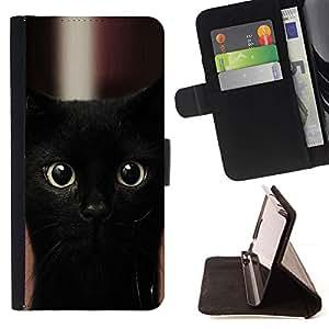 Momo Phone Case / Flip Funda de Cuero Case Cover - Gatito del gato negro de Bombay Nebelung; - Sony Xperia Z5 Compact Z5 Mini (Not for Normal Z5)