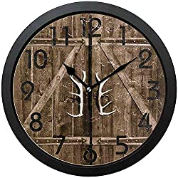 Silent Farmhouse Wall Clock-Kids Room Wall Clock-Rural Wooden Gate with Antler Handles Round Wall Clock Decorative, Battery Operated Quartz Analog Quiet Desk Clock for Home,Office,School,10in