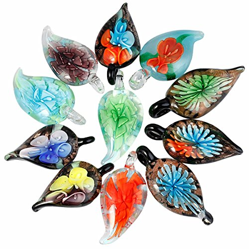 Lampwork Leaf - TUMBEELLUWA Glass Necklace Lampwork Glass Leaf Pendant Assorted Random Color