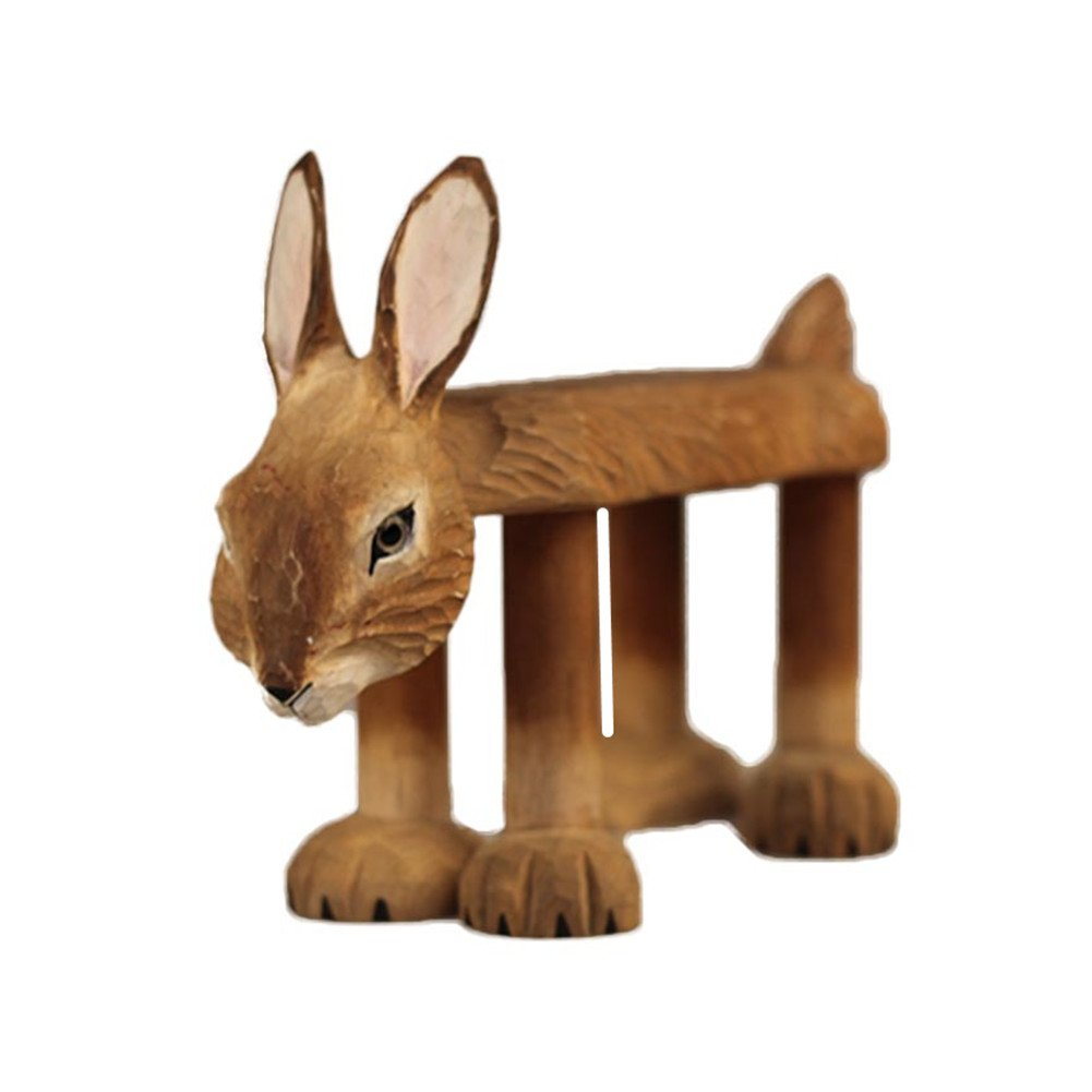 ZaH Wooden Kids Chair Cute Unique Animal Figure Ornament Wood Ottomanas Home Decoration Garden Yard Decor, Bunny