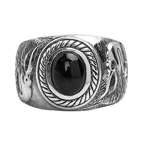 - Beydodo 925 Sterling Silver Rings Vintage Biker Dragon Claw Eagle Ring Black Agate Stone Size 10 Hip Hop Ring for Men