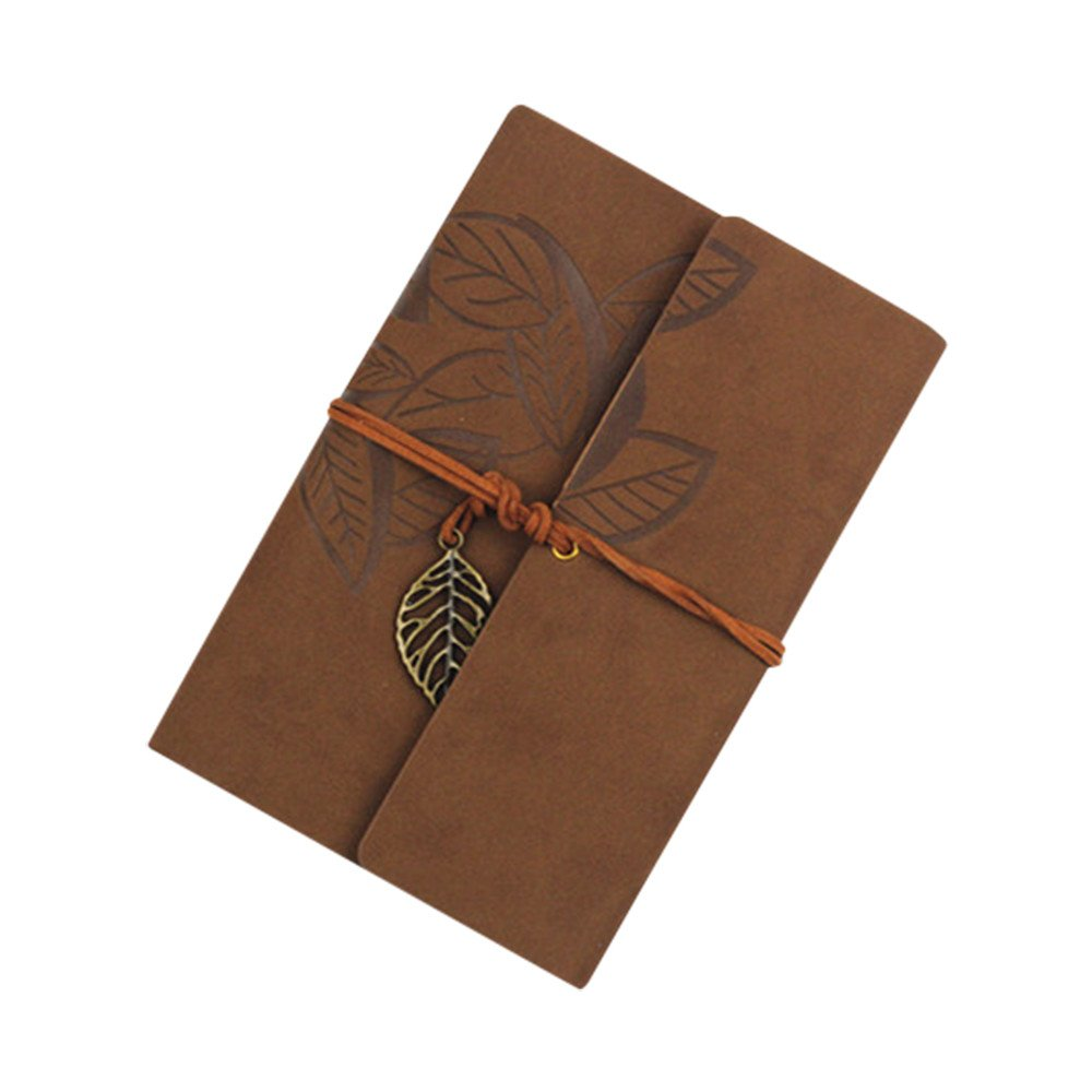 Handmade Leather Journal Writing Notebook Bound Daily Notepad Vintage Travel Diary for Men Women (C)