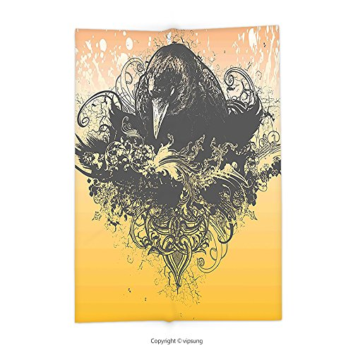 vipsung Throw Blanket with Black Decor Halloween Theme Vector Illustration of a Wicked Crow and Flowers Print Black and Mustard Super Soft and Cozy Fleece Blanket