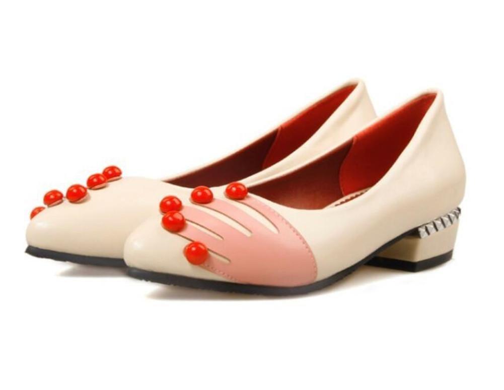 XIE Tacón bajo y Pantalón Puntiagudo Cómodo Zapatos de Trabajo de Temperamento Zapatos, Beige, 36 BEIGE-36