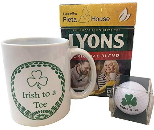 Irish Golfer Gift Set with Ceramic Mug Golf Ball and Box of Lyons Tea from Ireland -