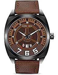 KONXIDO Mens Quartz Analog Date Wrist Watch with Black Leather Strap, Waterproof Watches -Brown