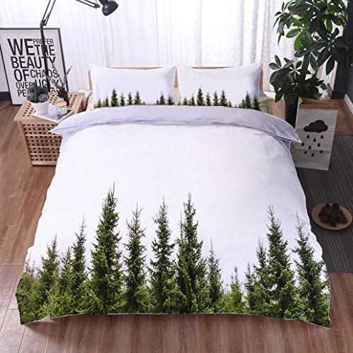 HOOMORE Bed Comforter - 3-Piece Duvet -All Season, Row of Christmas Pine Trees Isolated on White,HypoallergenicDuvet-MachineWashable -Twin-Full-Queen-King-Home-Hotel -School
