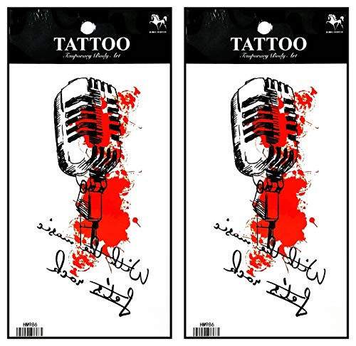 Tattoos 2 Sheets Colorful Microphone Music Karaoke Waterproof Temporary Fake Tattoo Stickers Body Art Removable for Men Women