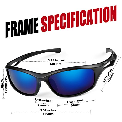 Duduma Polarized Sports Sunglasses for Running Cycling Fishing Golf Tr90 Unbreakable Frame (black matte frame with blue lens)