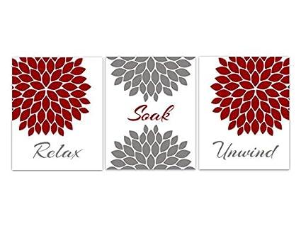 Amazon Com Red And Gray Bathroom Decor Relax Soak Unwind