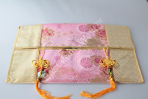 - Decorative Chinese Silk Tissue Box Cover with Mystic Knots Jade Coin Tassel (Pink)