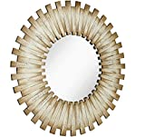 Hamilton Hills White Washed Round Wood Starburst Circle Mirror | Circular Beveled Glass Vanity Mirror | Natural Look and Perfect for Bedroom or Bathroom