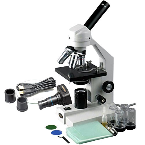 AmScope M500-MS-M Digital Monocular Compound Microscope, WF10x Eyepiece, 40x-1000x Magnification, Anti-Mold Optics, Tungsten Illumination, Brightfield, Abbe Condenser, Coarse and Fine Focus, Plain Stage with Mechanical Specimen Holder, 110V, Includes 1.3MP Camera with Reduction Lens and Software - Tungsten Illumination