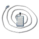 24-inch Rope Chain with Sterling Silver Shiny Rectangular Ayatul-kursi Pendant w/ Diamond-cut Edge (sterling-silver, 18 Inches)