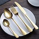 Haoun Flatware Set,4pcs Stainless Steel Cutlery Sets Utensils Forks Spoons Knives Set with Box - Golden