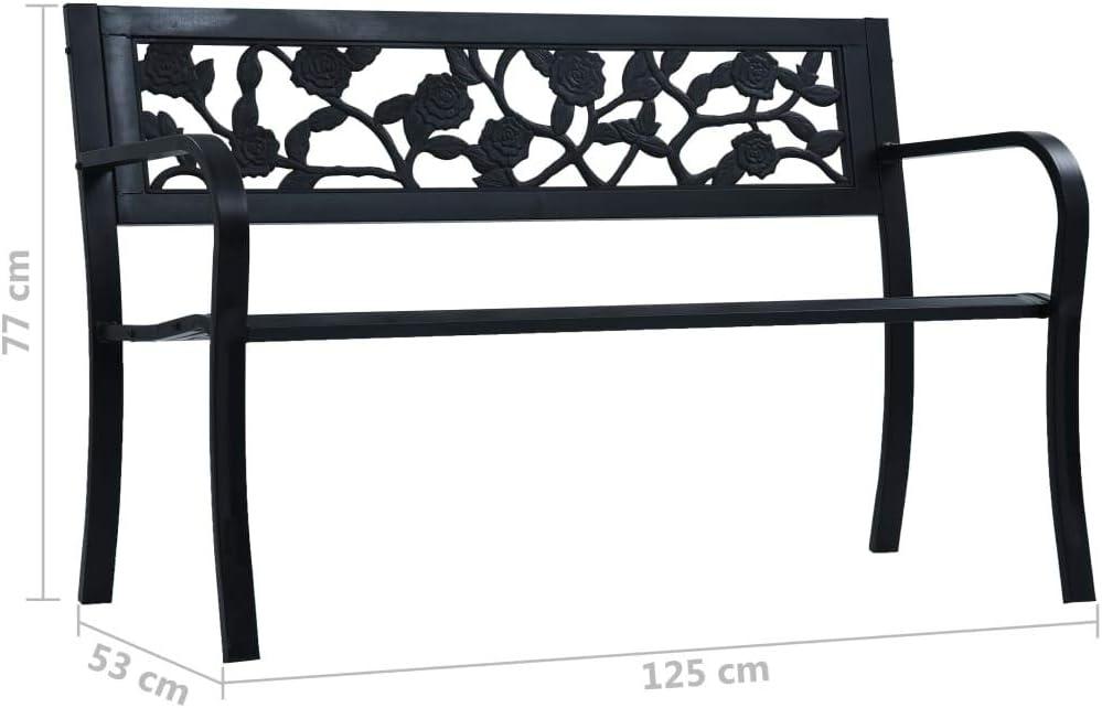 in acciaio 125 cm colore: Nero Panca da giardino VidaXL
