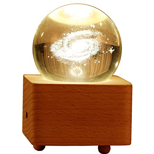 Crystal Ball Bluetooth Speaker & Decorative Lamp with Wooden Base by Giga Technology | 2-in-1 Portable Wireless Lifestyle Accessory USB Rechargeable | Galaxy/Moon/Dandelion Engraved Patterns - Giga Mp3