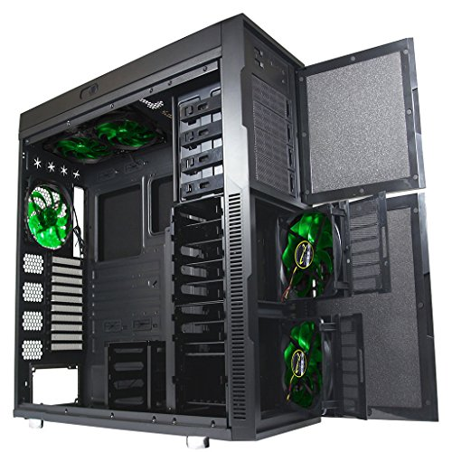 Nanoxia Deep Silence 6 Rev. B Gigantic Big/Full Tower Computer Case with 8 Fan Controllers, Fits HPTX Motherboard and 360mm Radiators, 61.1 Pounds, Black (NXDS6B) (Ultra Full Tower Computer Case)