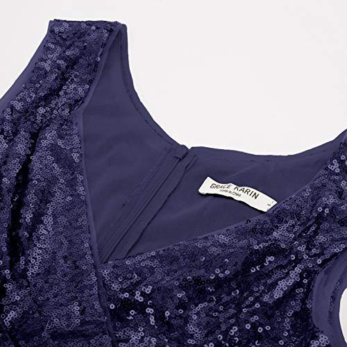 GRACE KARIN Women's 50s 60s Vintage Sleeveless V-Neck Cocktail Swing Dress